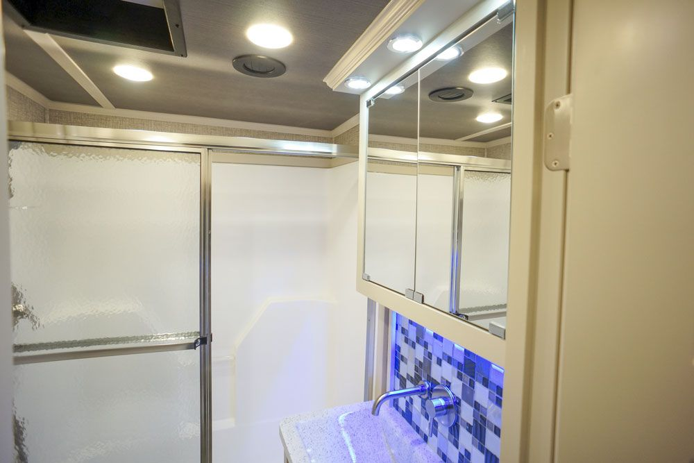 Luxury toy hauler full bath sink lights