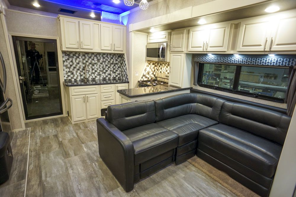 Luxury toy hauler living room sofa