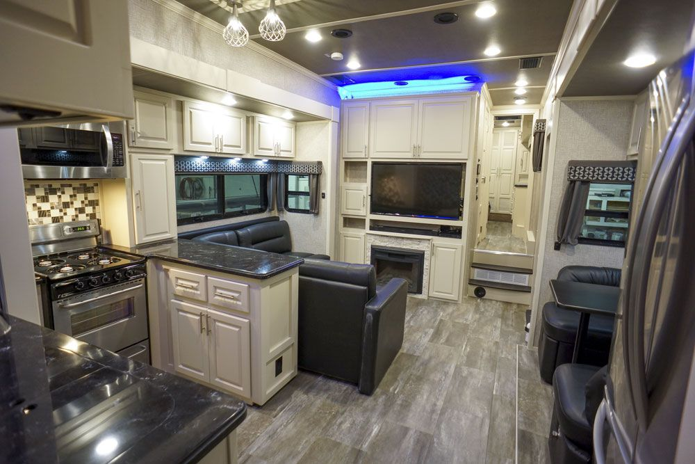 Luxury toy hauler kitchen living room
