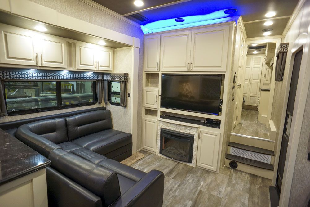Luxury toy hauler entertainment center
